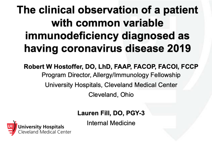 The Clinical Observation of a Patient with Common Variable Immunodeficiency Diagnosed as having Coronavirus Disease 2019
