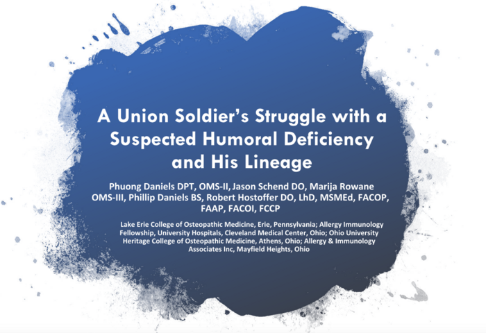 A Union's Soldier's Struggle with a Suspended Humoral Deficiency and His Lineage