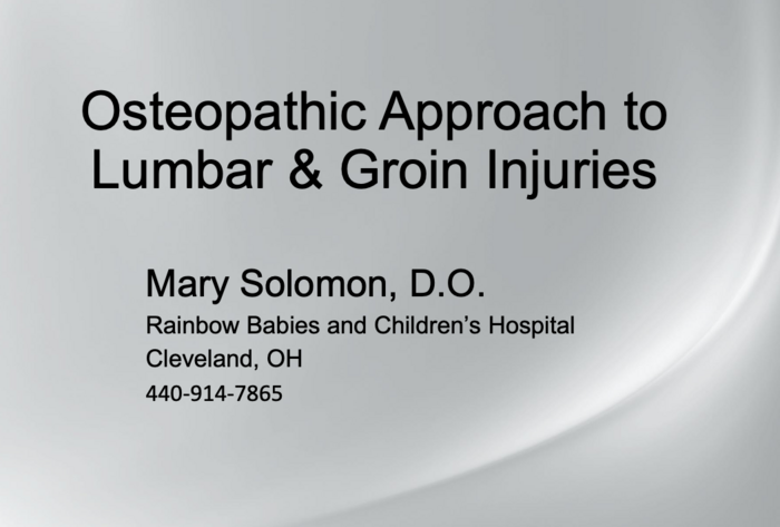 Osteopathic Approach to Lumbar & Groin Injuries