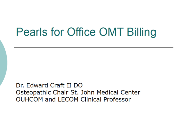 Osteopathic Pearls for Billing & Coding